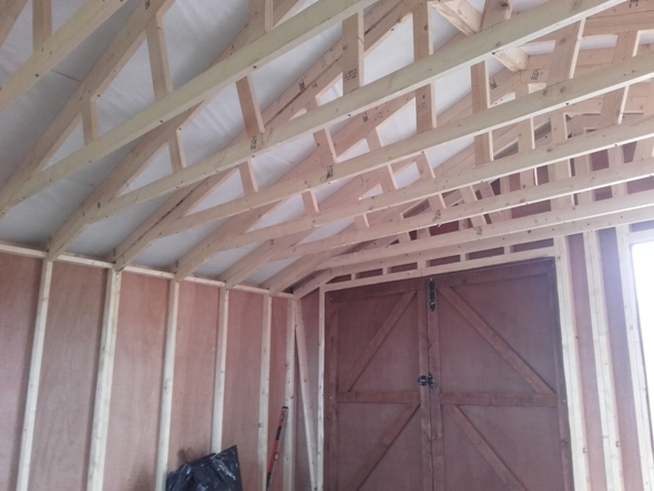 20 x 20 Garage with shiplap boarding
