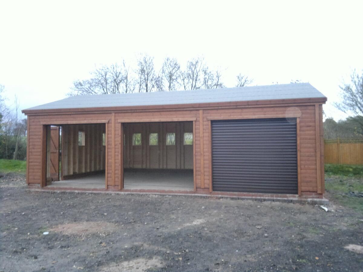 Triple Wooden Garage