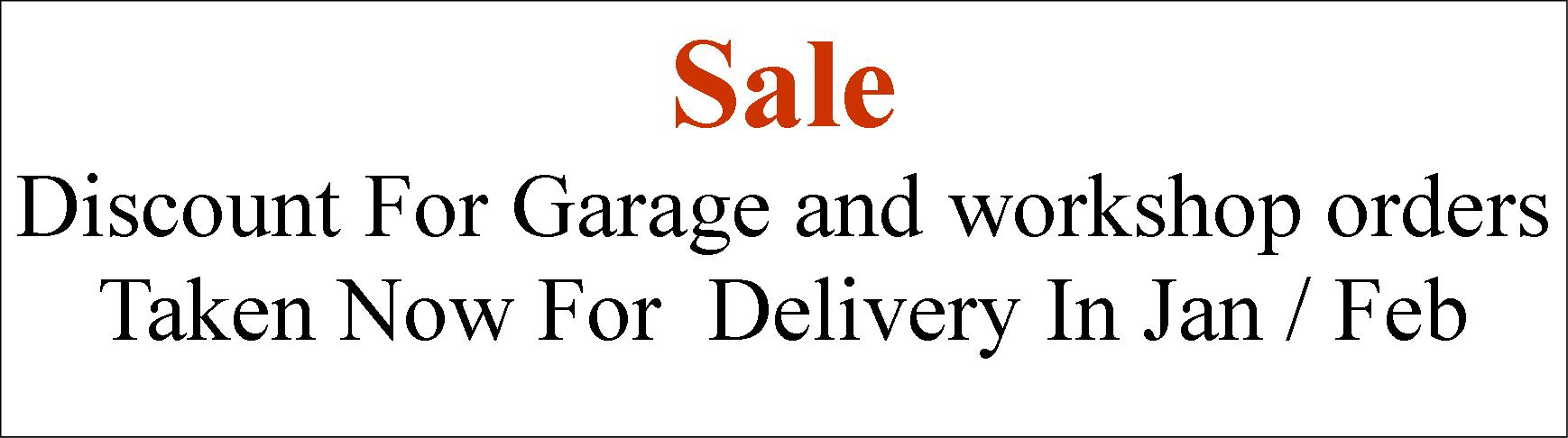 Garage and workshop sale