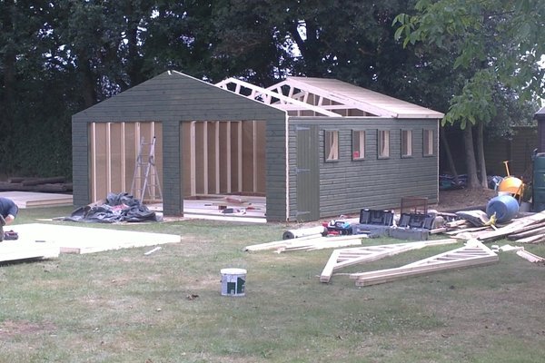 Double wooden garage 20x20 for Construction garage double