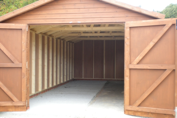 24x10 single wooden garage with side access door for 18 x 10 garage door