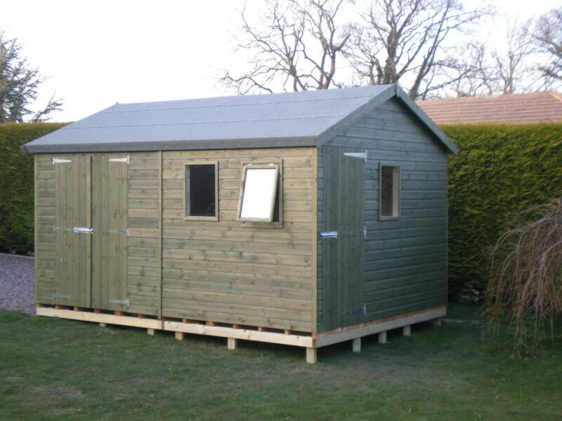 14 x 8 Wooden Workshop Painted Green