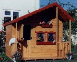 Alpine Lodge Playhouse With Upper Bunk