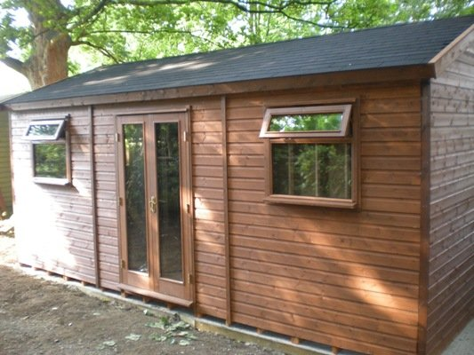 20 x 12 wooden garden office with felt shingles