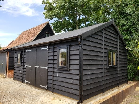 20 x 16 Wooden Garage Painted Black